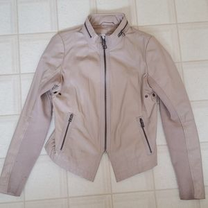 Beige Fabric and Leather Jacket